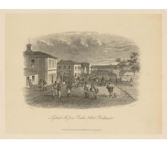 Lydiart St Baths Hotel Ballarat lithograph Tingle Gill