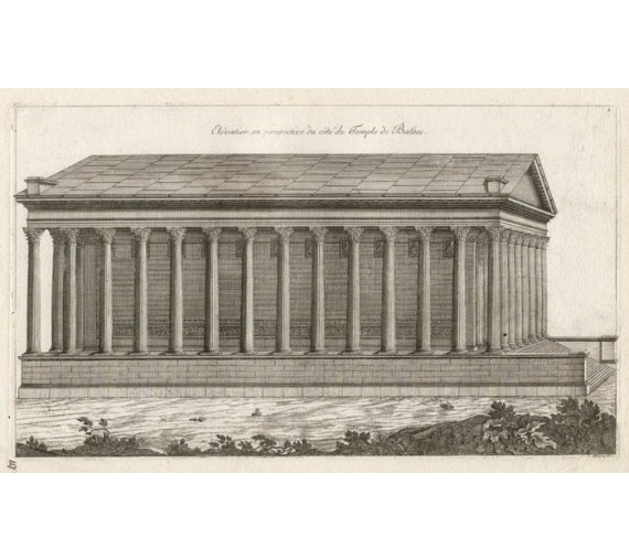 Temple Baalbec architecture marot antique engraving print lebanon