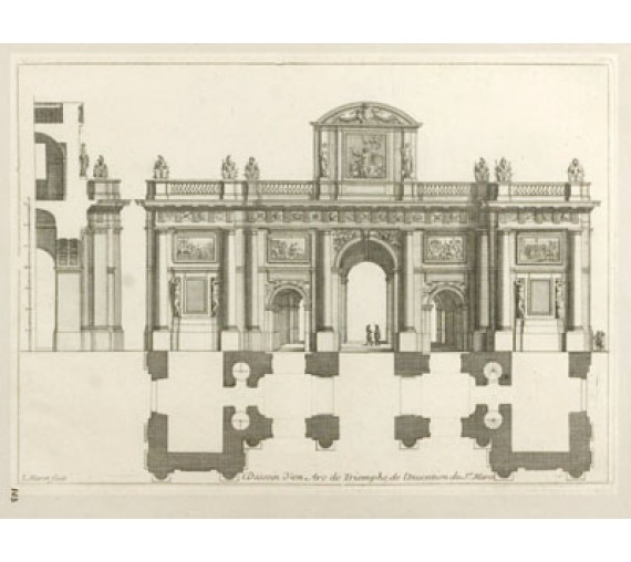 French architectural design antique engraving print marot