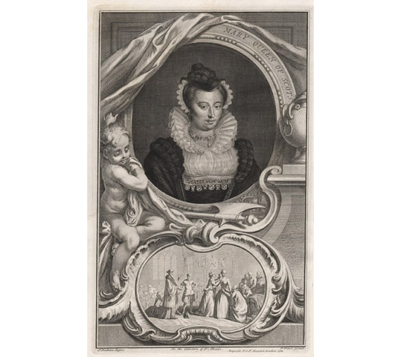 Mary Queen Scots Houbraken portrait engraving print