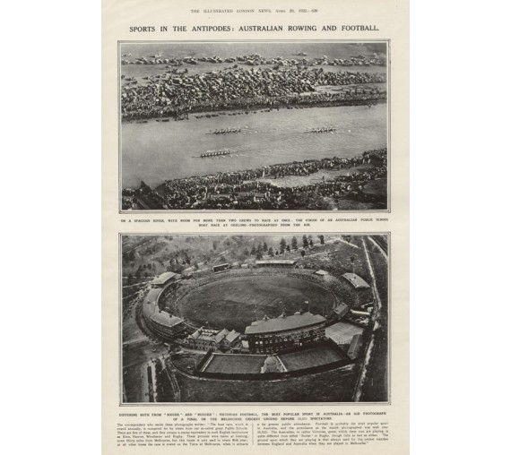 Australian Rowing Football MCG photogravure antique print