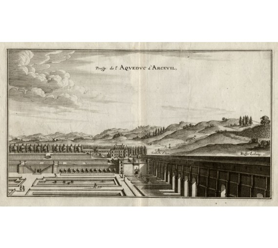 Arcevil aqueduct Merian French engraving