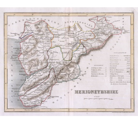 merionethshire wales archer antique map