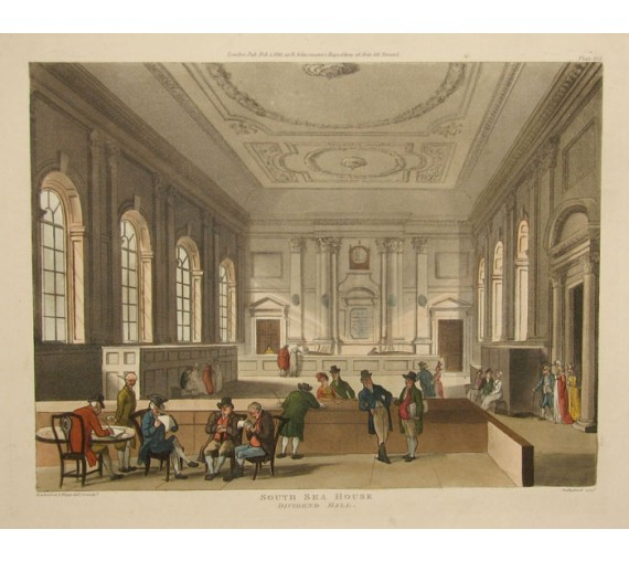 South Sea House Rowlandson Mircocosm London aquatint