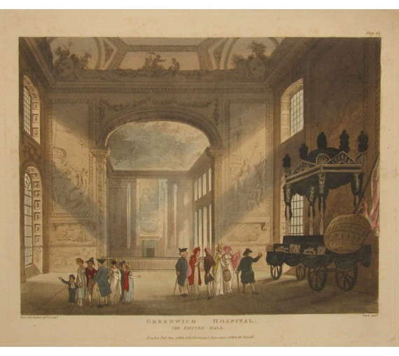 Greenwich Hospital Painted Hall London Microcosm Rowlandson