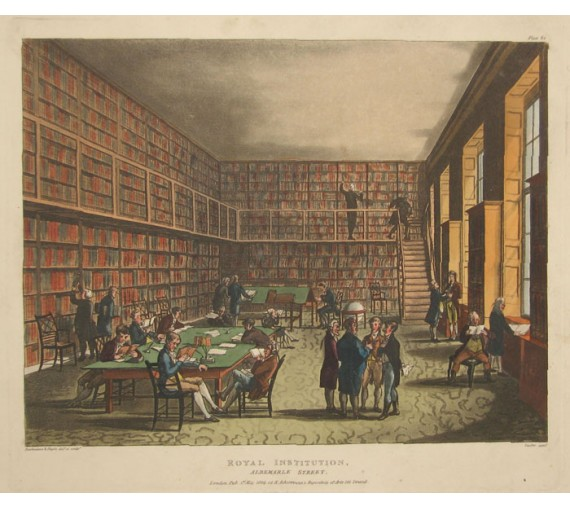 Royal Institution Albemarle Street Rowlandson Mircocosm London aquatint