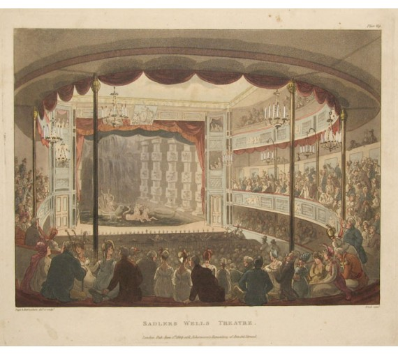 Sadlers Wells Theatre Rowlandson Mircocosm London aquatint