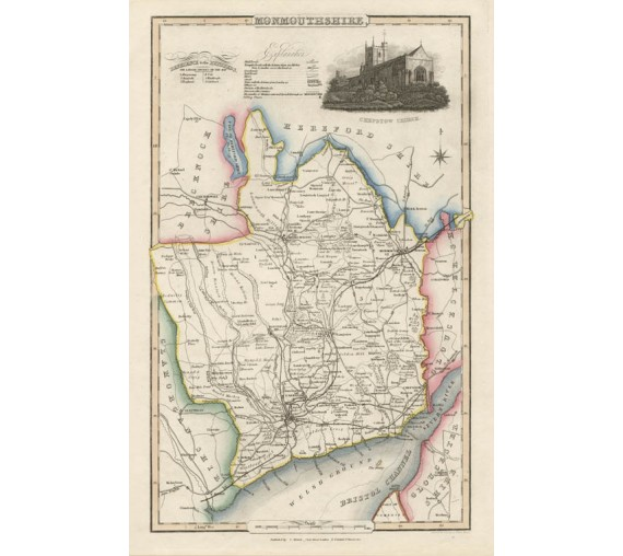 monmouthshire english county slater antique map