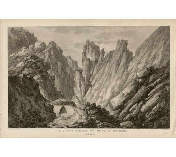 passage du Mont St Gothard Switzerland view engraving