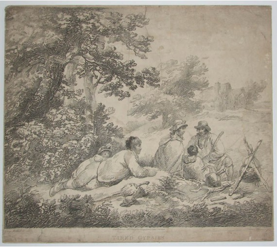 Tired Gypsies etching Thomas Williamson George Morland