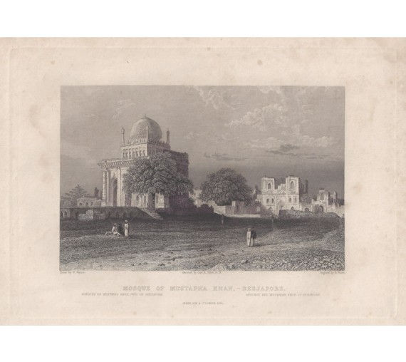 India Mosque Mustapha Khan Beejapore Elliot antique engraving