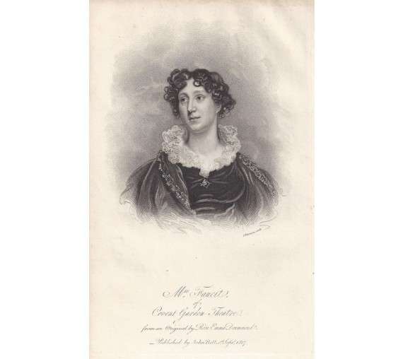 Mrs Faucit Covent Garden Theatre portrait engraving print