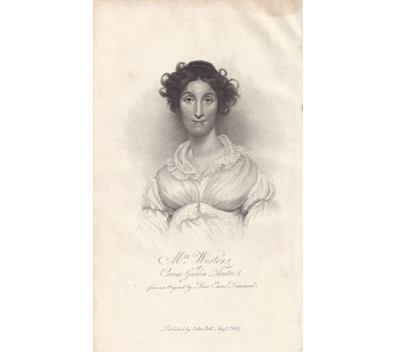 Mrs Weston Covent Garden Theatre portrait engraving actor