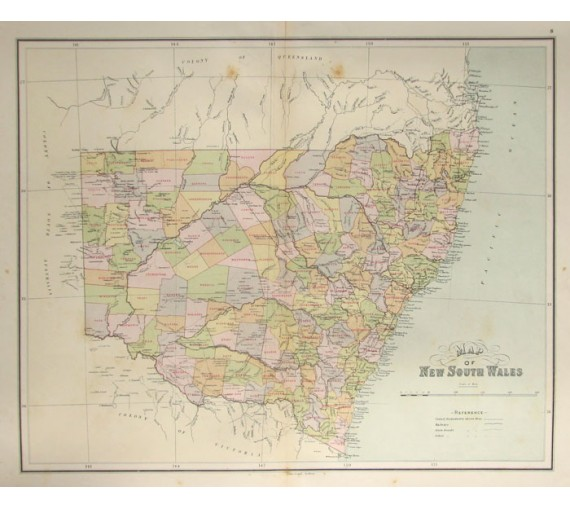 map of new south wales australia antique map