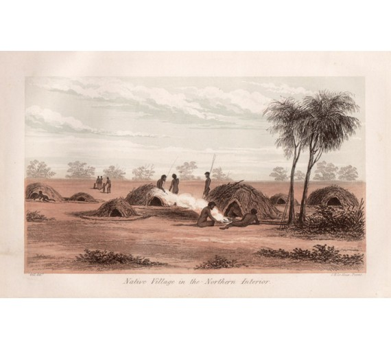 Native Village Northern Interior lithograph 1849