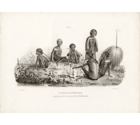 Inhabitants of New Holland Lithograph Honneger
