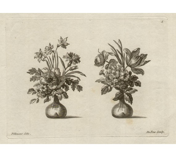 New Book Flowers engraving Du Four Pillement