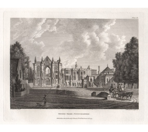 Newstead Nottinghamshire Byron Paul Sandby antique print engraving