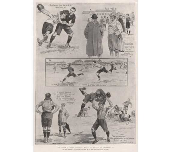 soccer football Match antique print  photogravure