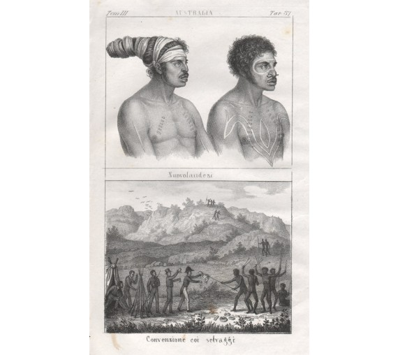 New Hollander aborigines Lithograph Giuseppe Antonelli 1841