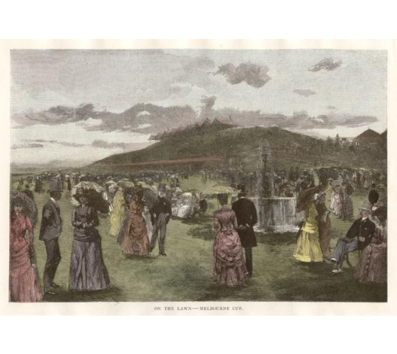 antique print flemington racing engraving Lawn Melbourne Cup