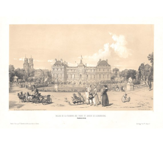 Jardin du Luxembourg Paris William Parrott lithograph