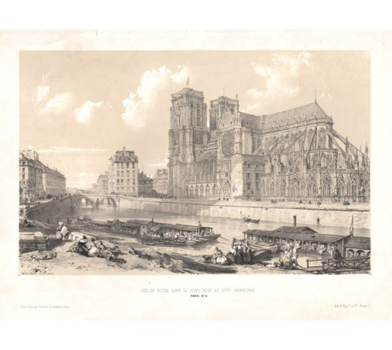 Notre Dame Paris William Parrott lithograph