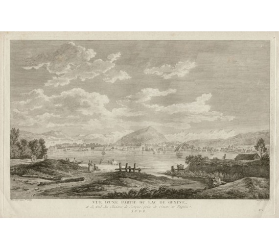 Lac de Geneve Switzerland view engraving