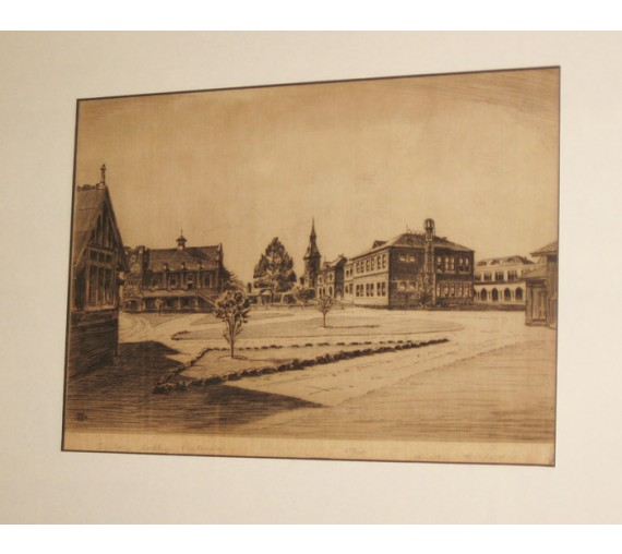 Geelong College Victoria Austin Platt signed etching