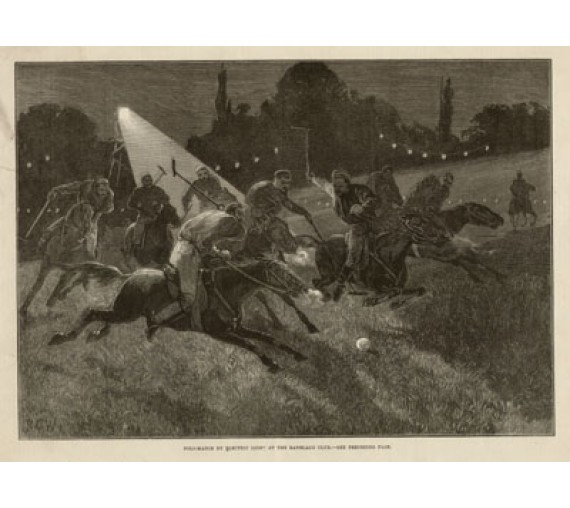 Polo Match Electric Light Ranleagh Club antique engraving