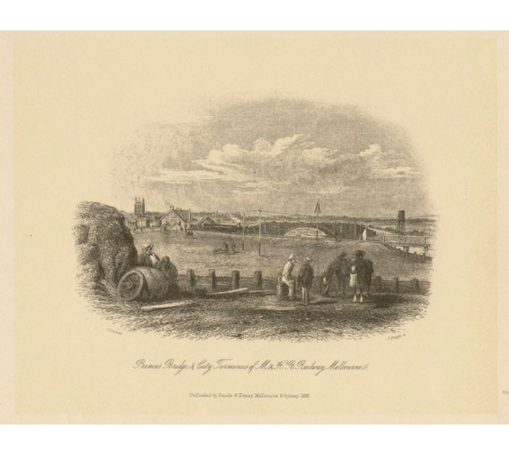 Princes Bridge Railway Melbourne Lithograph ST Gill
