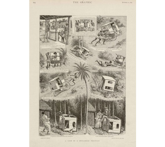 Ride Ceylonese Tricycle antique engraving Sri Lanka