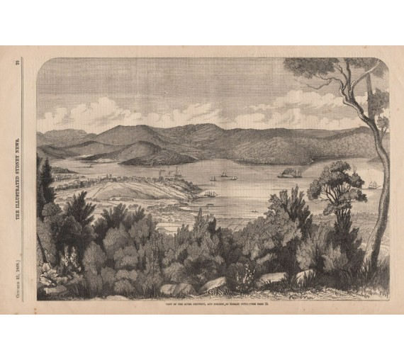 River Derwent Hobart Town engraving Illustrated Sydney News