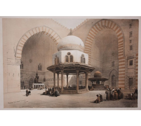 Mosque Sultan Hussan Cairo David Roberts lithograph Egypt