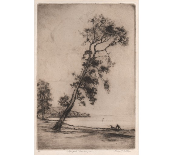 Margarets Lake Macquarie etching Bruce Robertson