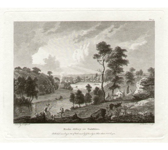 Roche Abbey Paul Sandby antique print engraving