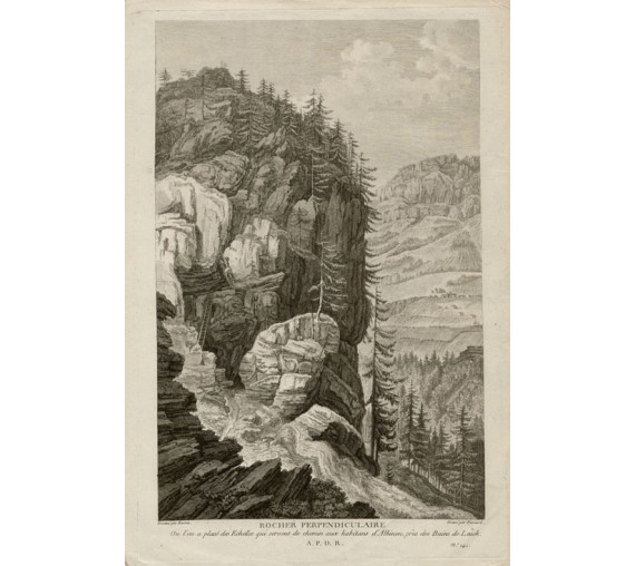 Rocher Perpendiculaire glacier Switzerland view engraving