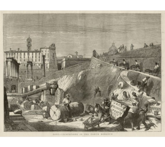 Rome Excavations Forum Romanum Wood engraving
