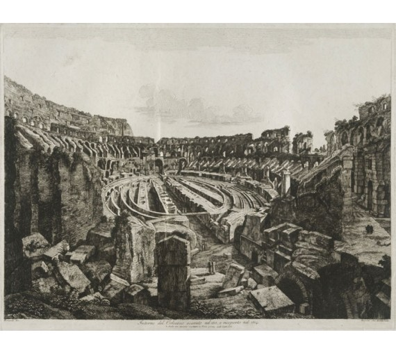 Colosseum Rome Rossini etching engraving