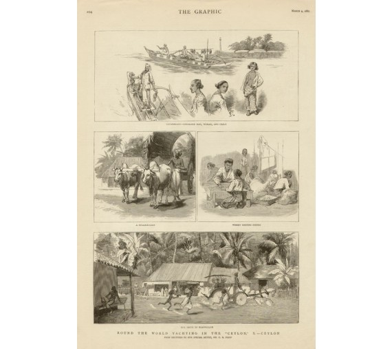 Round World Yachting Ceylon antique engraving Sri Lanka