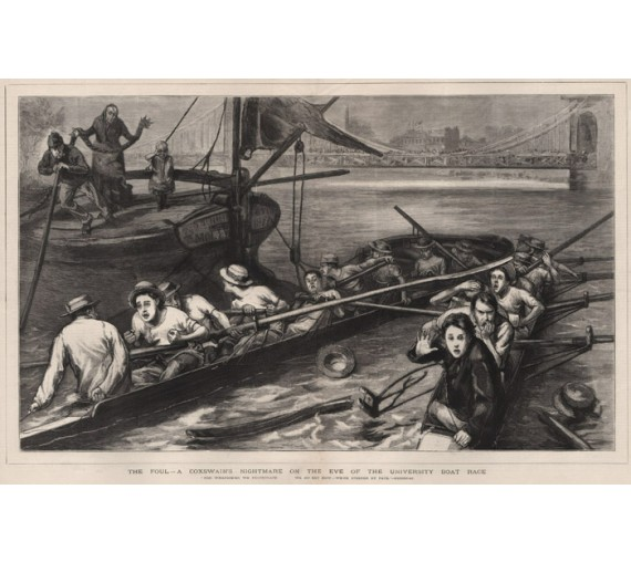 University Boat Race rowing antique print engraving thames