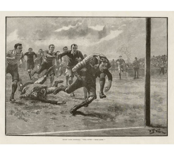 Rugby Union Football antique print engraving