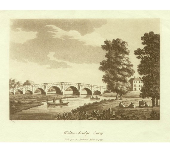 Walton bridge Surrey Thames Samuel Ireland aquatint