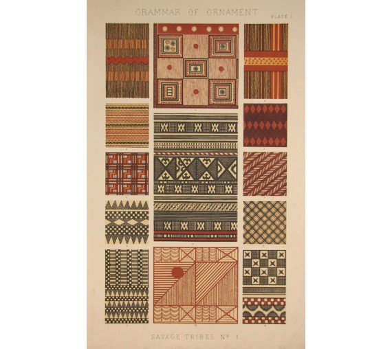 Grammar of Ornament savage tribes owen jones chromolithograph