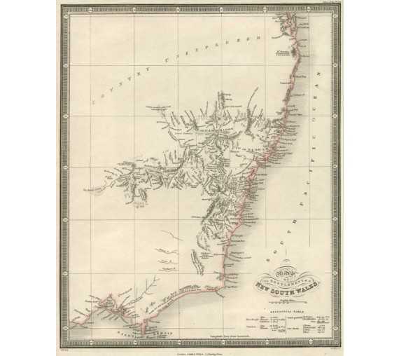 settlements of new south wales wyld antique map