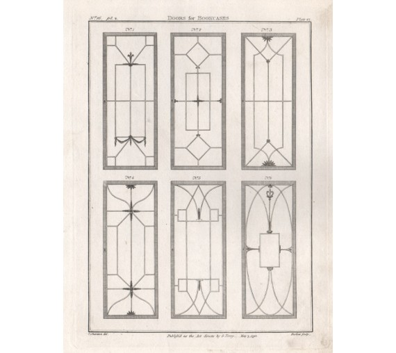 Bookcases Thomas Sheraton furniture design antique engraving print