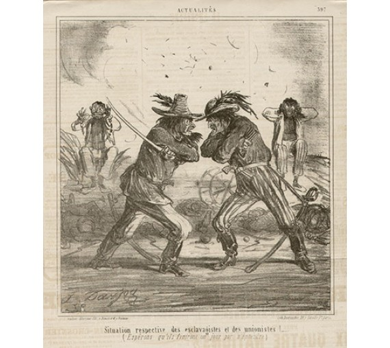 American Civil War French caricature lithograph Le Charivari