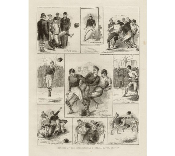 Sketches International Football Match Glasgow antique print engraving