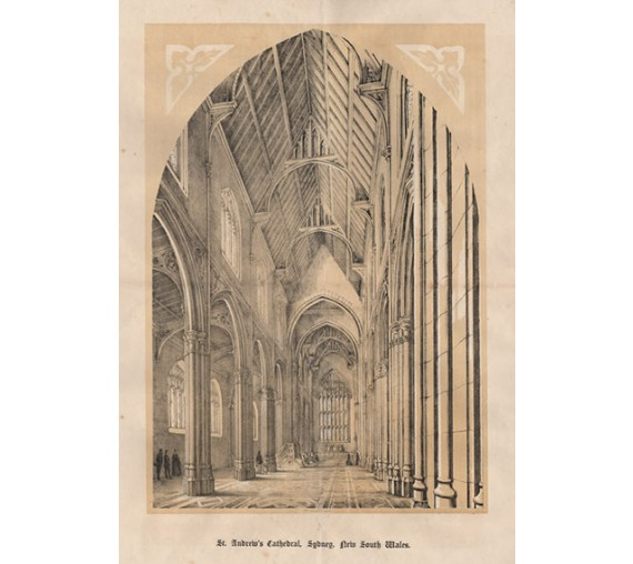 St Andrews Cathedral Sydney lithograph Gibbs Shallard