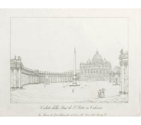 St Peters Vatican Etching Italian